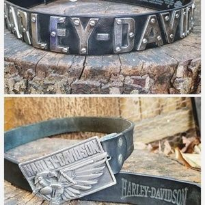 Vintage (LOT OF 2) HARLEY DAVIDSON Leather Belts
